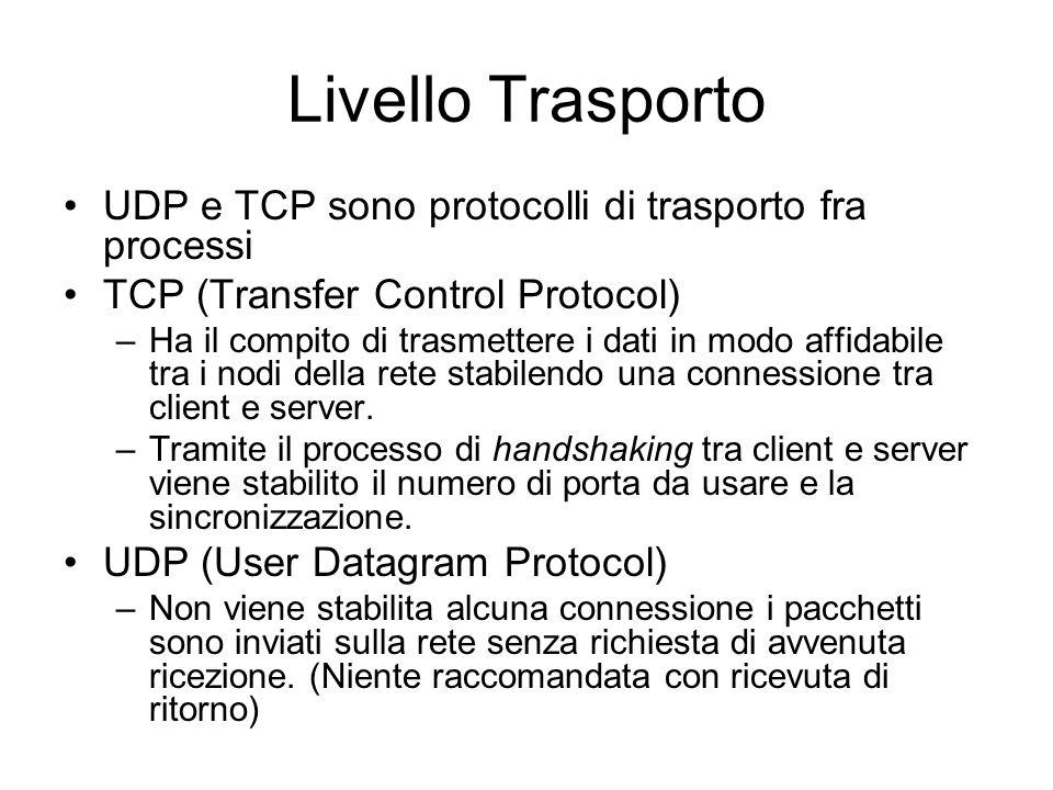 Livello Trasporto UDP e TCP sono protocolli di trasporto fra processi TCP (Transfer Control Protocol) –Ha il compito di trasmettere i dati in modo affidabile tra i nodi della rete stabilendo una connessione tra client e server.