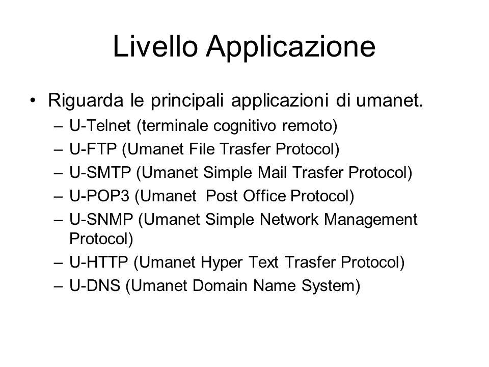 Livello Applicazione Riguarda le principali applicazioni di umanet.
