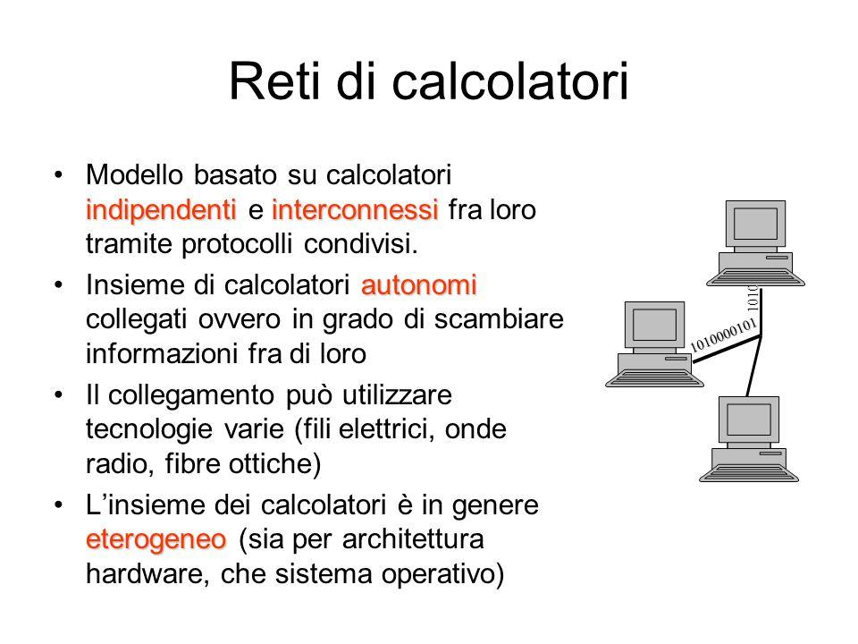 Reti di calcolatori indipendenti interconnessiModello basato su calcolatori indipendenti e interconnessi fra loro tramite protocolli condivisi.