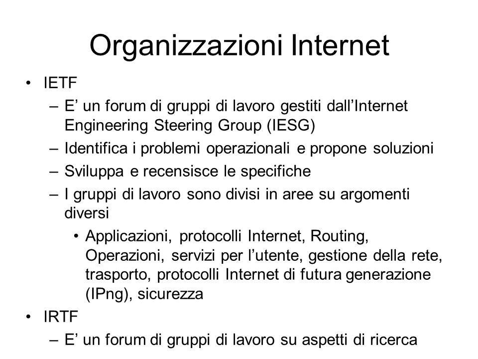 Organizzazioni Internet IETF –E un forum di gruppi di lavoro gestiti dallInternet Engineering Steering Group (IESG) –Identifica i problemi operazionali e propone soluzioni –Sviluppa e recensisce le specifiche –I gruppi di lavoro sono divisi in aree su argomenti diversi Applicazioni, protocolli Internet, Routing, Operazioni, servizi per lutente, gestione della rete, trasporto, protocolli Internet di futura generazione (IPng), sicurezza IRTF –E un forum di gruppi di lavoro su aspetti di ricerca