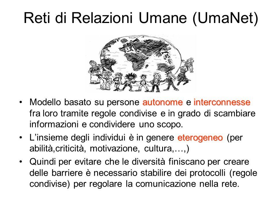 Reti di Relazioni Umane (UmaNet) autonome interconnesseModello basato su persone autonome e interconnesse fra loro tramite regole condivise e in grado di scambiare informazioni e condividere uno scopo.