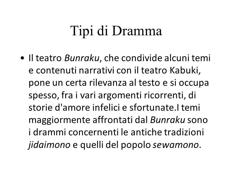 Tipi di Dramma Il teatro Bunraku, che condivide alcuni temi e contenuti narrativi con il teatro Kabuki, pone un certa rilevanza al testo e si occupa s