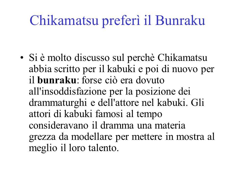 Chikamatsu preferì il Bunraku Si è molto discusso sul perchè Chikamatsu abbia scritto per il kabuki e poi di nuovo per il bunraku: forse ciò era dovut
