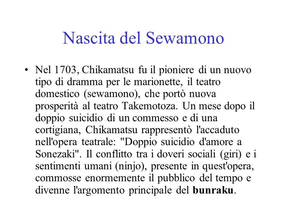 Nascita del Sewamono Nel 1703, Chikamatsu fu il pioniere di un nuovo tipo di dramma per le marionette, il teatro domestico (sewamono), che portò nuova