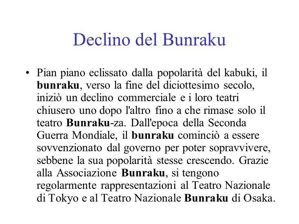 Declino del Bunraku Pian piano eclissato dalla popolarità del kabuki, il bunraku, verso la fine del diciottesimo secolo, iniziò un declino commerciale