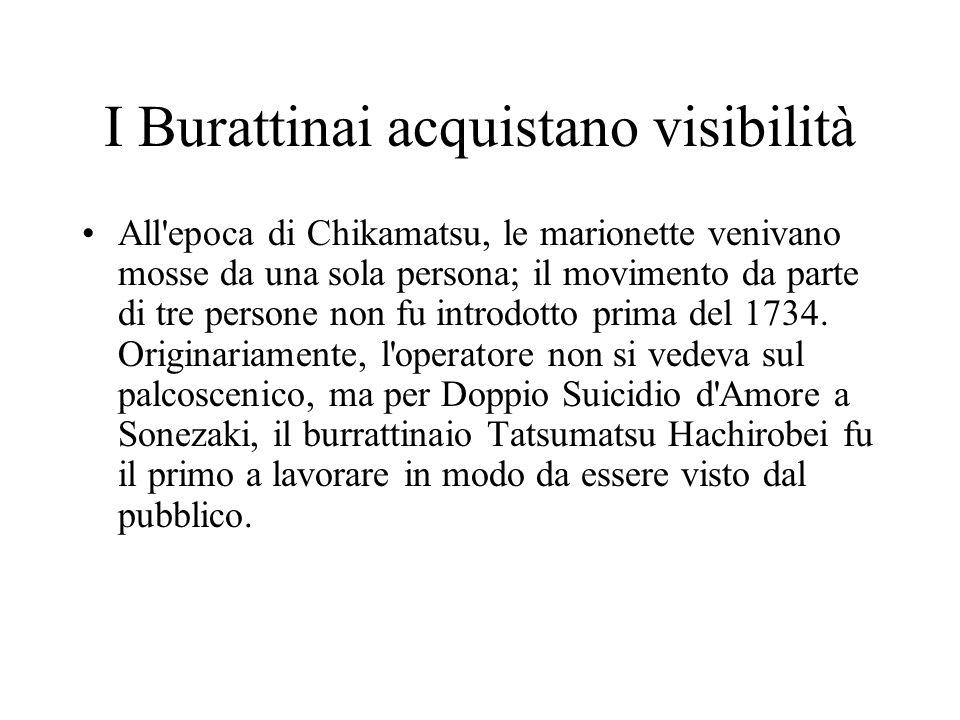 I Burattinai acquistano visibilità All'epoca di Chikamatsu, le marionette venivano mosse da una sola persona; il movimento da parte di tre persone non