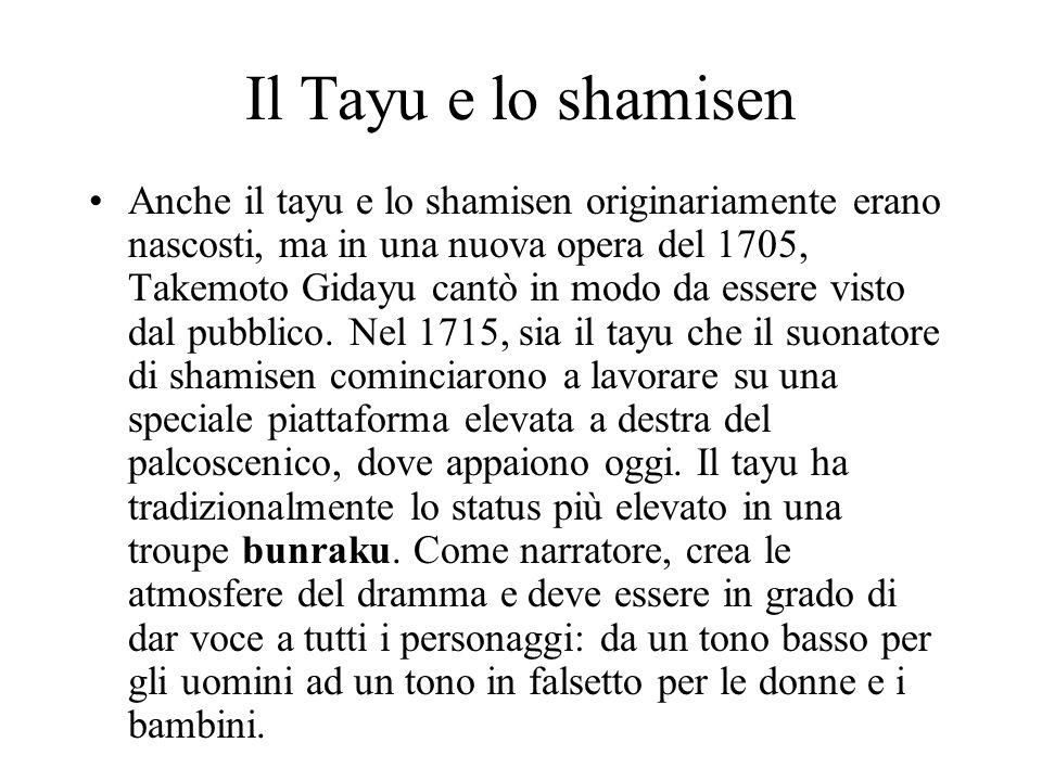 Il Tayu e lo shamisen Anche il tayu e lo shamisen originariamente erano nascosti, ma in una nuova opera del 1705, Takemoto Gidayu cantò in modo da ess
