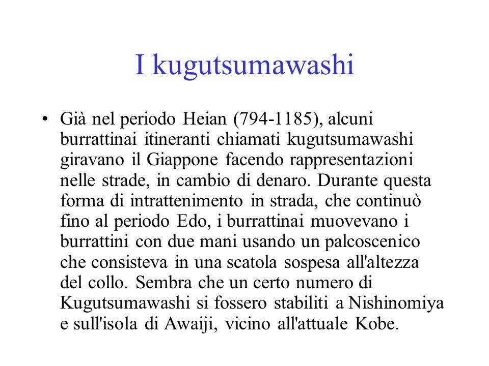 I kugutsumawashi Già nel periodo Heian (794-1185), alcuni burrattinai itineranti chiamati kugutsumawashi giravano il Giappone facendo rappresentazioni
