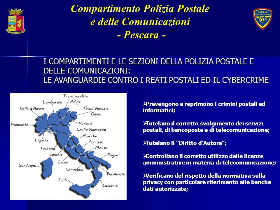 I COMPARTIMENTI E LE SEZIONI DELLA POLIZIA POSTALE E DELLE COMUNICAZIONI: LE AVANGUARDIE CONTRO I REATI POSTALI ED IL CYBERCRIME Prevengono e reprimon