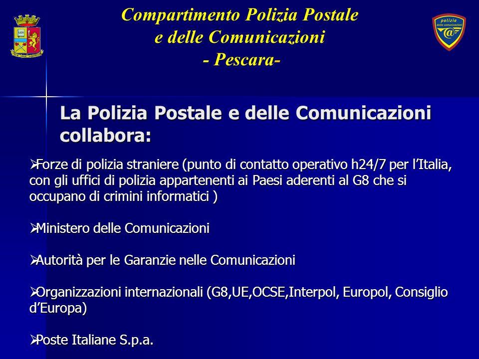 La Polizia Postale e delle Comunicazioni collabora: Forze di polizia straniere (punto di contatto operativo h24/7 per lItalia, con gli uffici di poliz