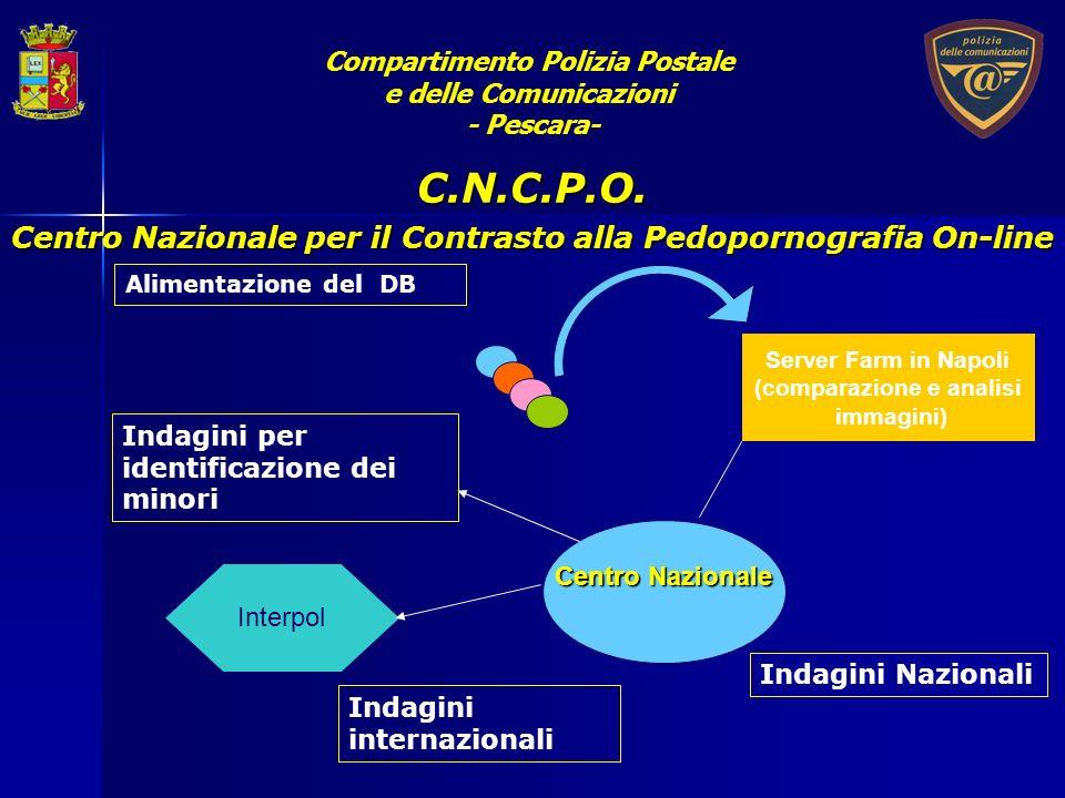 Server Farm in Napoli (comparazione e analisi immagini) Alimentazione del DB Centro Nazionale Interpol Indagini per identificazione dei minori C.N.C.P