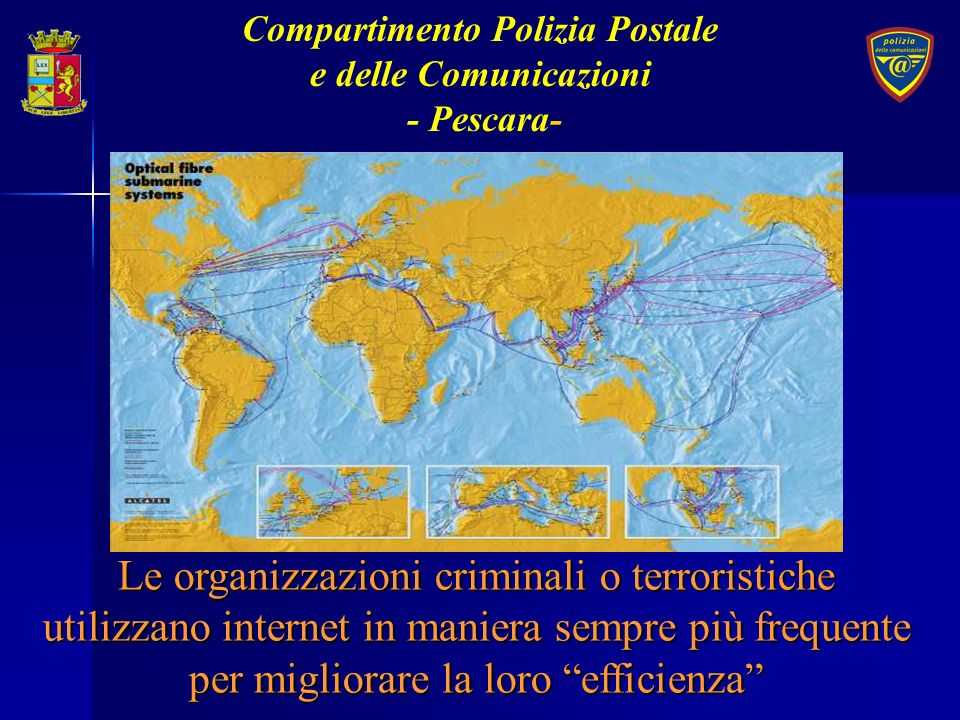 ATTIVITA DI PREVENZIONE Diffusione di una cultura della sicurezza Diffusione di una cultura della sicurezza Organizzazione delle risorse Organizzazione delle risorse Compartimento Polizia Postale e delle Comunicazioni - Pescara -