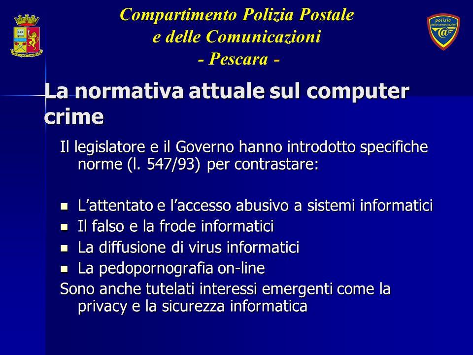 La legge consente di svolgere sotto il controllo dellautorità giudiziaria: intercettazioni telematiche e attività sotto copertura nella rete internet Compartimento Polizia Postale e delle Comunicazioni - Pescara -