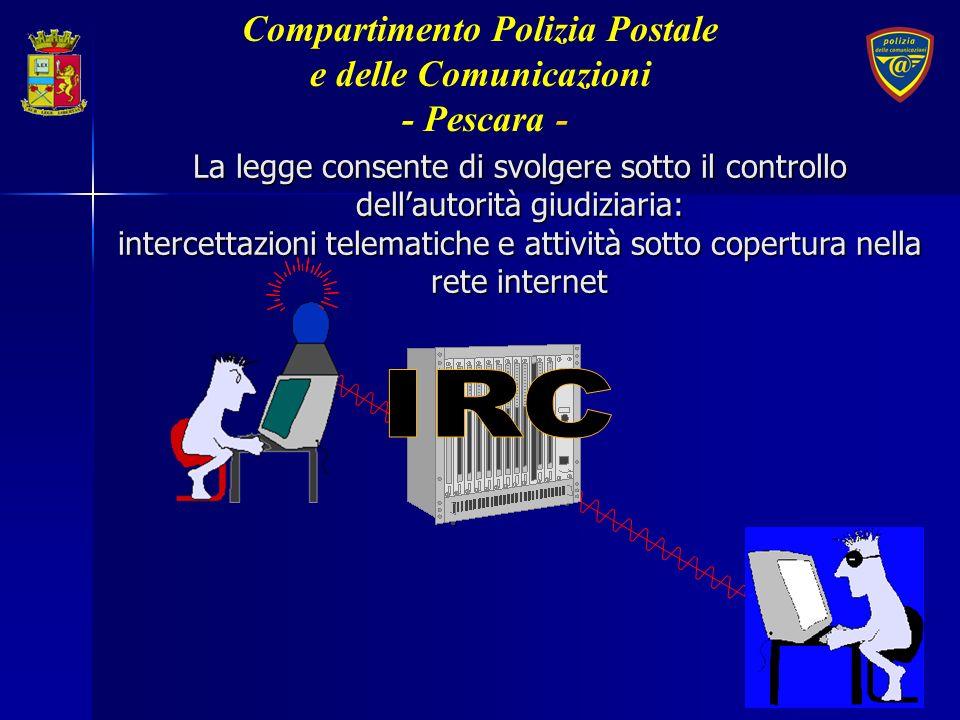 Per contrastare il computer crime è necessario: Continuo adeguamento normativo Continuo adeguamento normativo Strutture di polizia altamente specializzate Strutture di polizia altamente specializzate Collaborazione internazionale Collaborazione internazionale Compartimento Polizia Postale e delle Comunicazioni - Pescara-