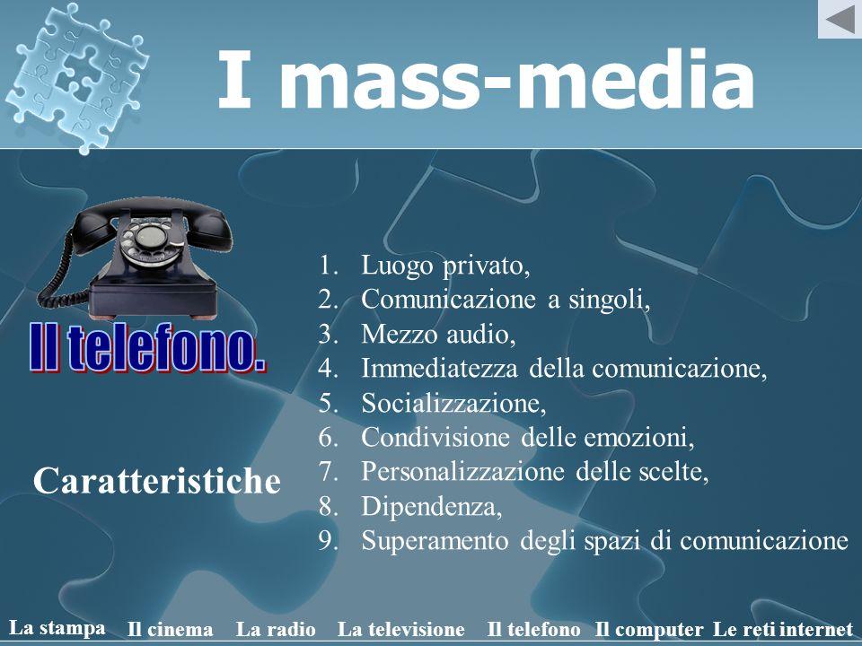 I mass-media Caratteristiche 1.Luogo privato, 2.Comunicazione a singoli, 3.Mezzo audio, 4.Immediatezza della comunicazione, 5.Socializzazione, 6.Condi