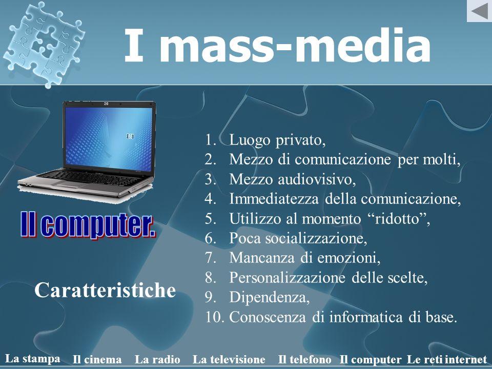 I mass-media Caratteristiche 1.Luogo privato, 2.Mezzo di comunicazione per molti, 3.Mezzo audiovisivo, 4.Immediatezza della comunicazione, 5.Utilizzo
