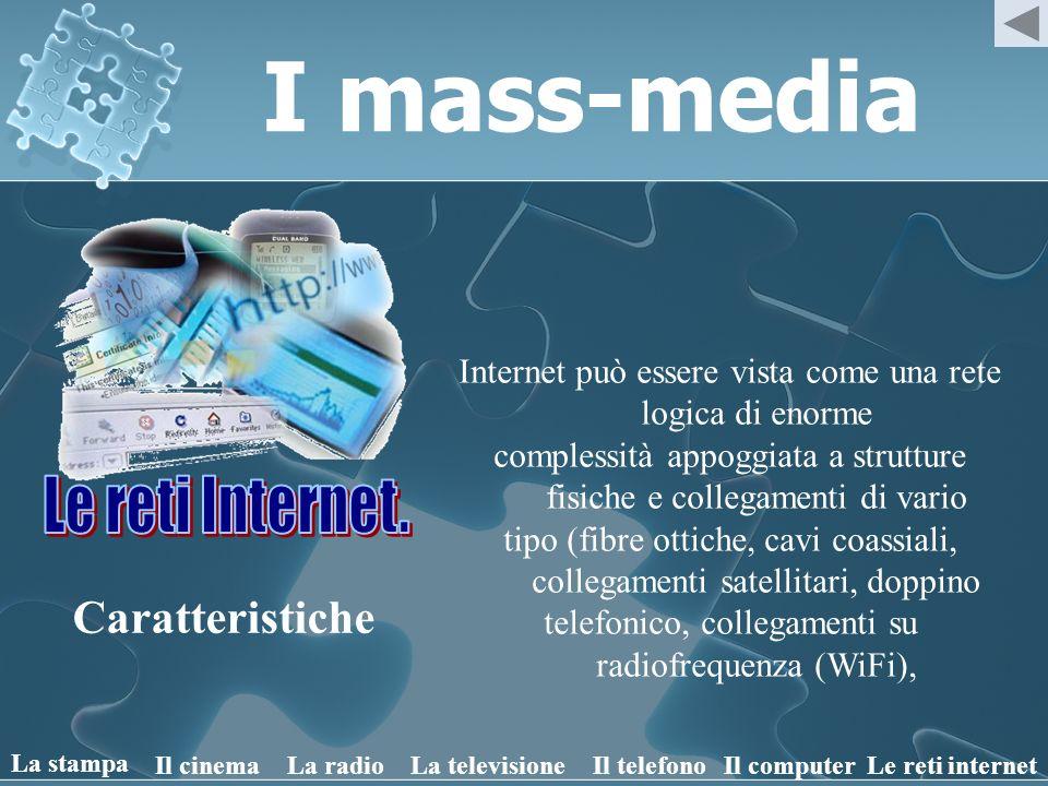 I mass-media Caratteristiche Internet può essere vista come una rete logica di enorme complessità appoggiata a strutture fisiche e collegamenti di var
