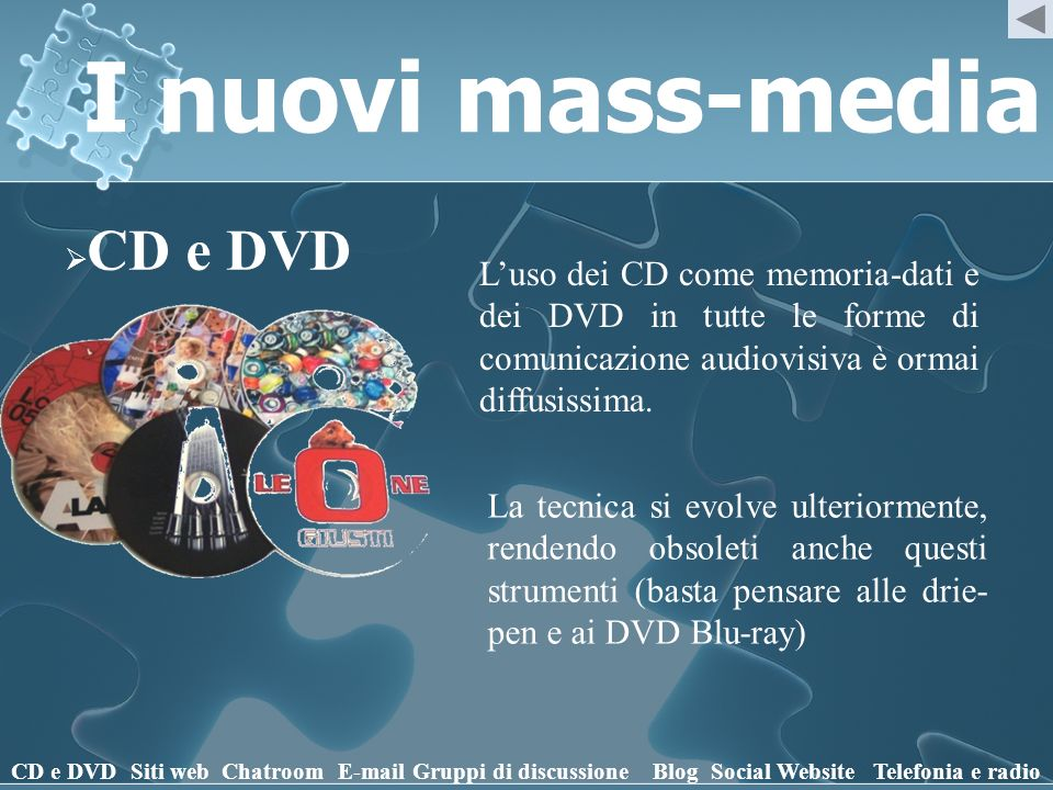 I nuovi mass-media CD e DVD Siti webChatroomE-mailGruppi di discussioneBlogSocial WebsiteTelefonia e radio Luso dei CD come memoria-dati e dei DVD in