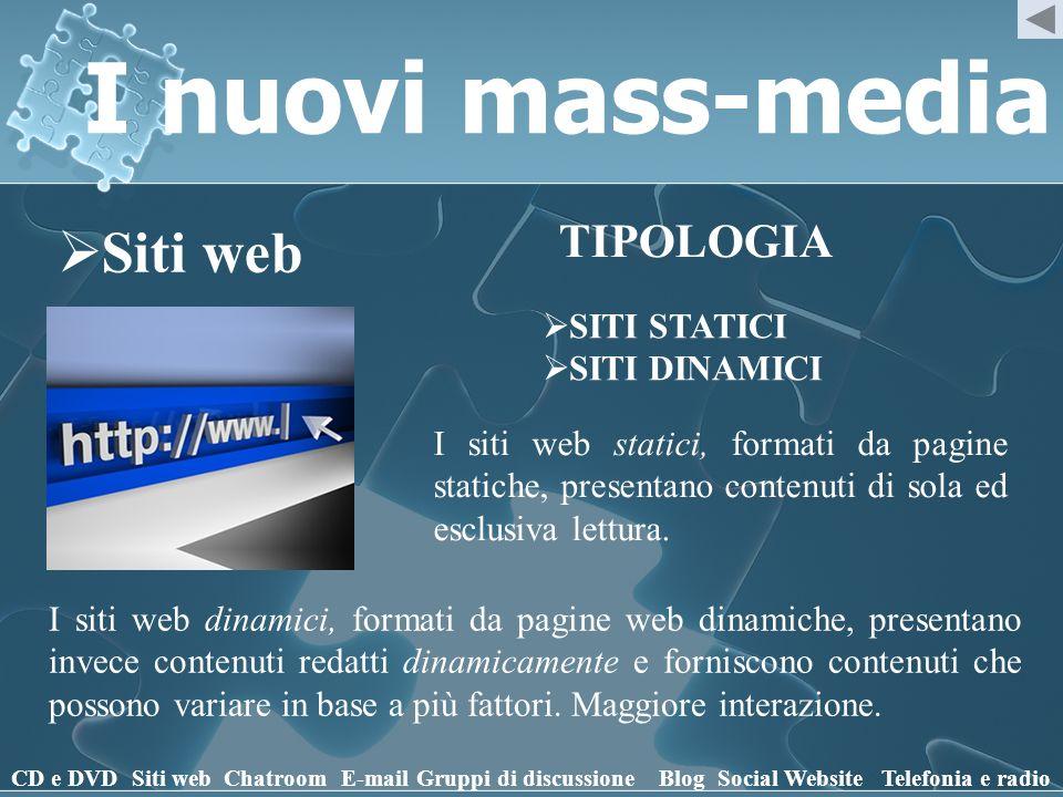 I nuovi mass-media Siti web CD e DVD Siti webChatroomE-mailGruppi di discussioneBlogSocial WebsiteTelefonia e radio TIPOLOGIA SITI STATICI SITI DINAMI