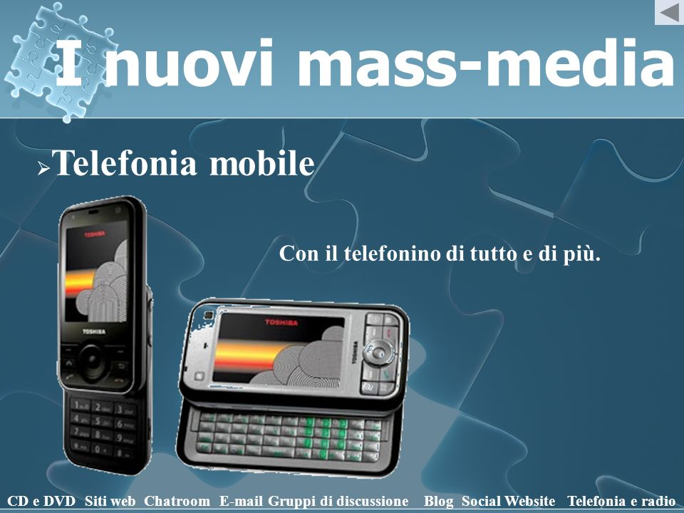 I nuovi mass-media Telefonia mobile CD e DVD Siti webChatroomE-mailGruppi di discussioneBlogSocial WebsiteTelefonia e radio Con il telefonino di tutto