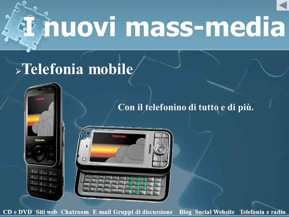 I nuovi mass-media Telefonia mobile CD e DVD Siti webChatroomE-mailGruppi di discussioneBlogSocial WebsiteTelefonia e radio Con il telefonino di tutto e di più.