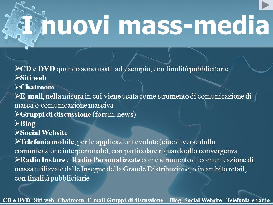 I nuovi mass-media CD e DVD Siti webChatroomE-mailGruppi di discussioneBlogSocial WebsiteTelefonia e radio Radio Instore Radio Personalizzate Radio Personalizzata è il più autorevole ed affidabile produttore di Brand Radio in Europa.