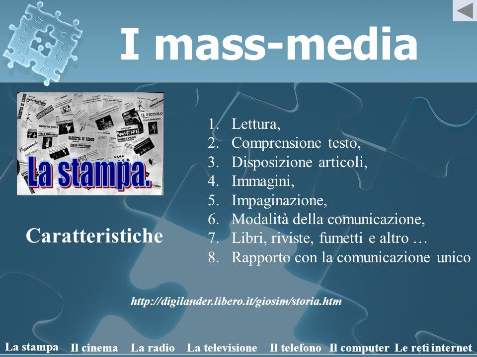 I mass-media Caratteristiche 1.Luogo pubblico, 2.Comunicazione a molti, 3.Mezzi audiovisivi, 4.Immediatezza della comunicazione, 5.Confronto, 6.Socializzazione, 7.Condivisione delle emozioni.