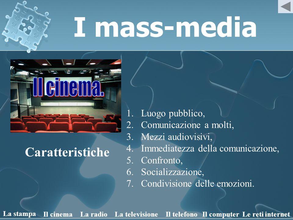 I mass-media Caratteristiche 1.Luogo pubblico o privato, 2.Comunicazione a molti, 3.Mezzo audio, 4.Immediatezza della comunicazione, 5.Confronto, 6.Socializzazione, 7.Condivisione delle emozioni, 8.Personalizzazione delle scelte.