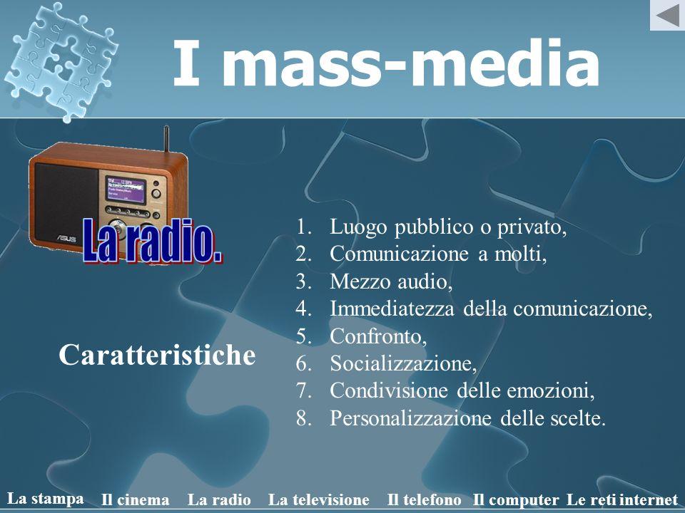 I mass-media Caratteristiche 1.Luogo pubblico o privato, 2.Comunicazione a molti, 3.Mezzo audiovisivo, 4.Immediatezza della comunicazione, 5.Confronto, 6.Socializzazione, 7.Condivisione delle emozioni, 8.Personalizzazione delle scelte, 9.Dipendenza.