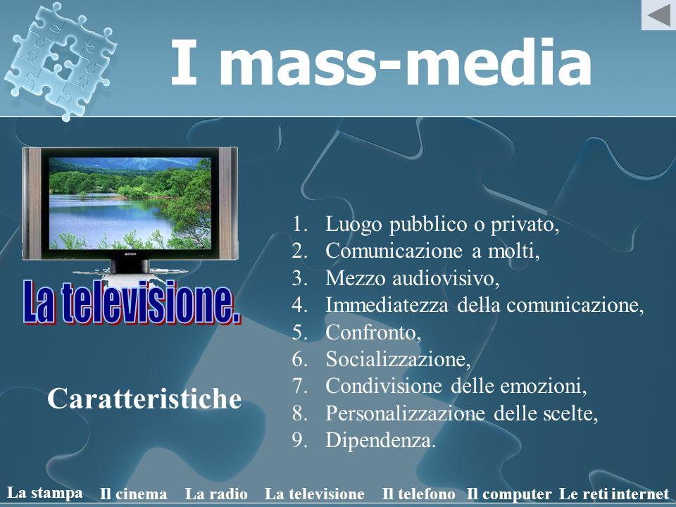 I mass-media Caratteristiche 1.Luogo pubblico o privato, 2.Comunicazione a molti, 3.Mezzo audiovisivo, 4.Immediatezza della comunicazione, 5.Confronto