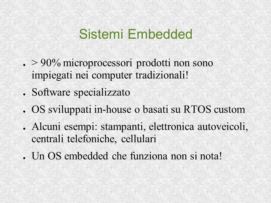 Sistemi Embedded > 90% microprocessori prodotti non sono impiegati nei computer tradizionali! Software specializzato OS sviluppati in-house o basati s