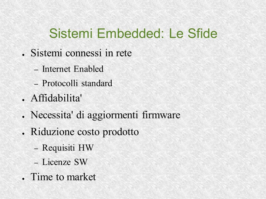 Sistemi Embedded: Le Sfide Sistemi connessi in rete – Internet Enabled – Protocolli standard Affidabilita Necessita di aggiormenti firmware Riduzione costo prodotto – Requisiti HW – Licenze SW Time to market