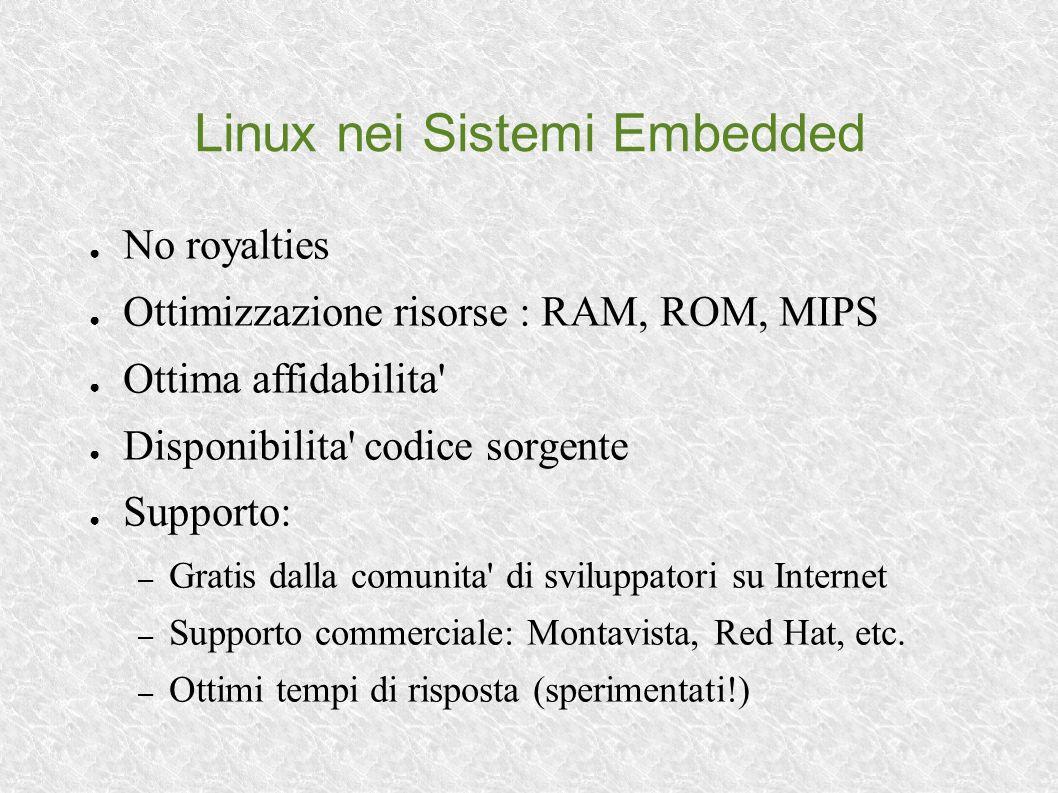 Linux nei Sistemi Embedded No royalties Ottimizzazione risorse : RAM, ROM, MIPS Ottima affidabilita' Disponibilita' codice sorgente Supporto: – Gratis