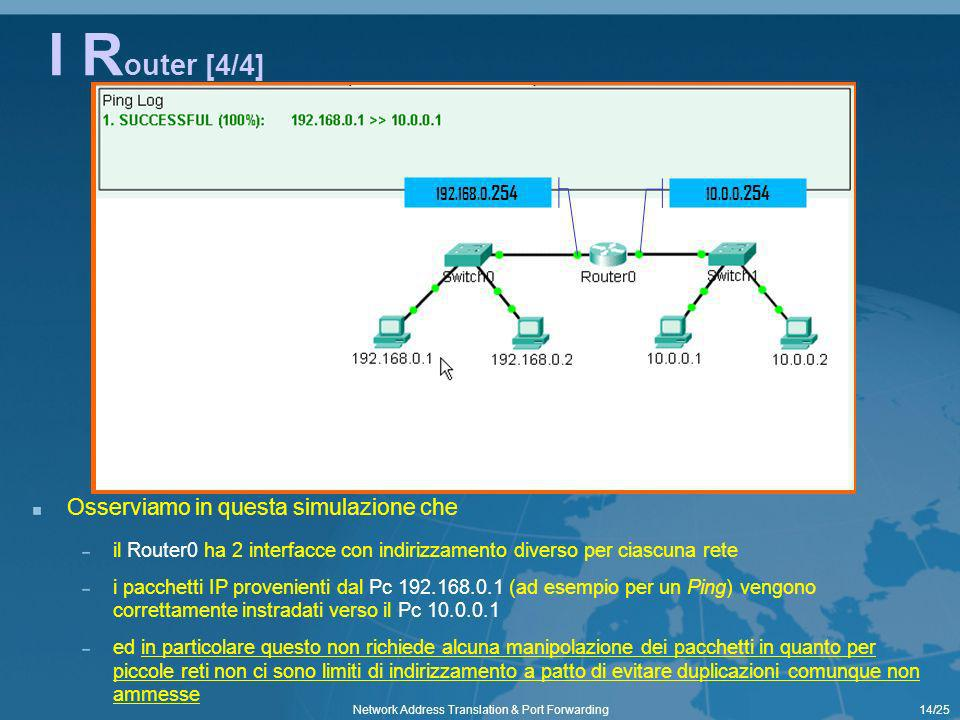 14/25Network Address Translation & Port Forwarding I R outer [4/4] Osserviamo in questa simulazione che il Router0 ha 2 interfacce con indirizzamento