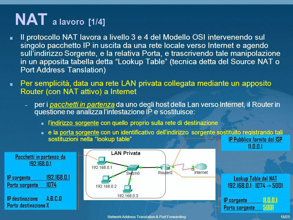 18/25Network Address Translation & Port Forwarding NAT a lavoro [1/4] Il protocollo NAT lavora a livello 3 e 4 del Modello OSI intervenendo sul singol