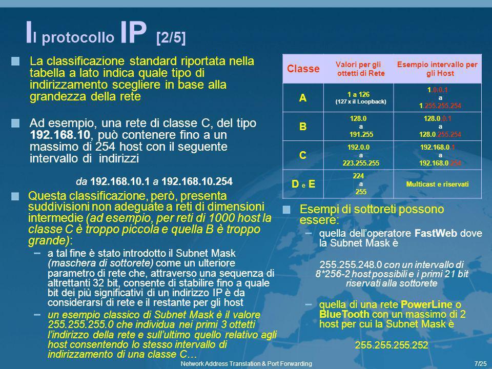 8/25Network Address Translation & Port Forwarding I l protocollo IP [3/5] Nelle reti di calcolatori, le porte sono lo strumento utilizzato per realizzare la multiplazione delle connessioni a livello di trasporto (liv.