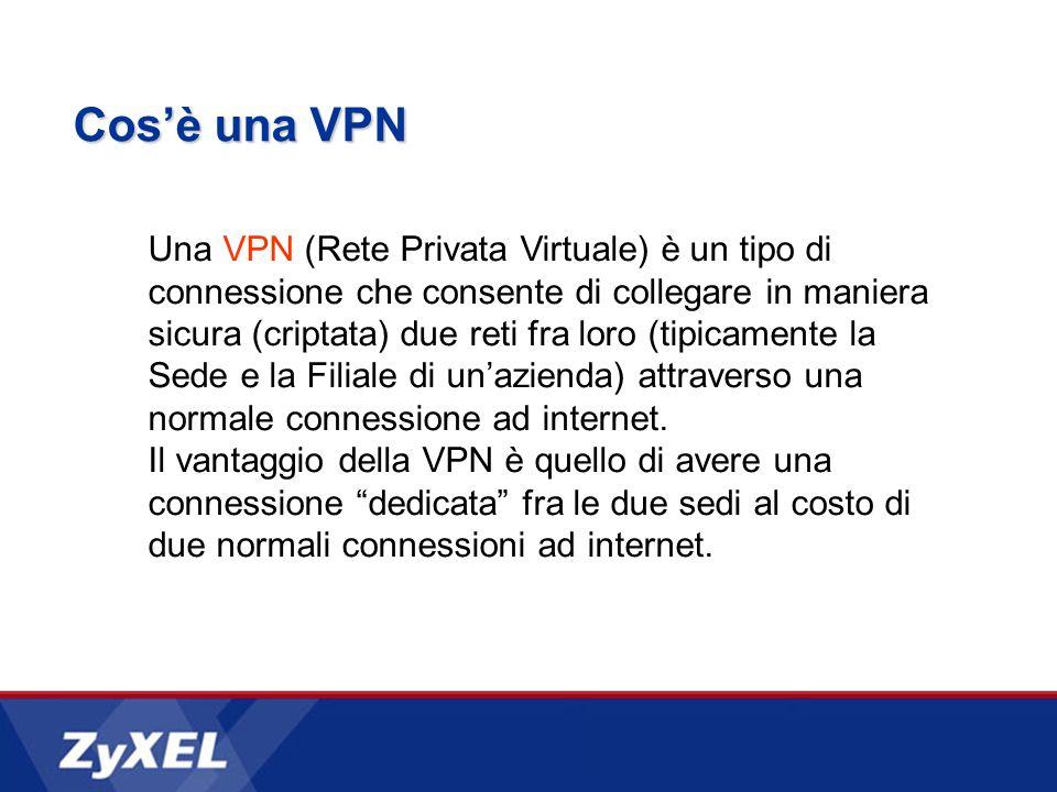 Cosè una VPN Una VPN (Rete Privata Virtuale) è un tipo di connessione che consente di collegare in maniera sicura (criptata) due reti fra loro (tipicamente la Sede e la Filiale di unazienda) attraverso una normale connessione ad internet.