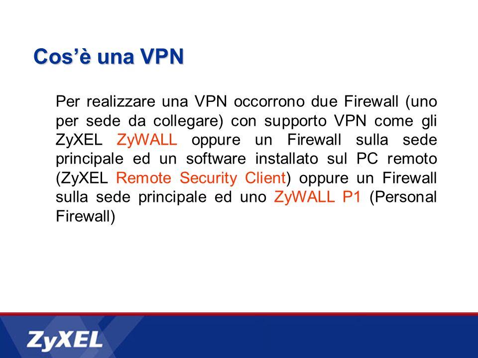 Cosè una VPN Per realizzare una VPN occorrono due Firewall (uno per sede da collegare) con supporto VPN come gli ZyXEL ZyWALL oppure un Firewall sulla sede principale ed un software installato sul PC remoto (ZyXEL Remote Security Client) oppure un Firewall sulla sede principale ed uno ZyWALL P1 (Personal Firewall)
