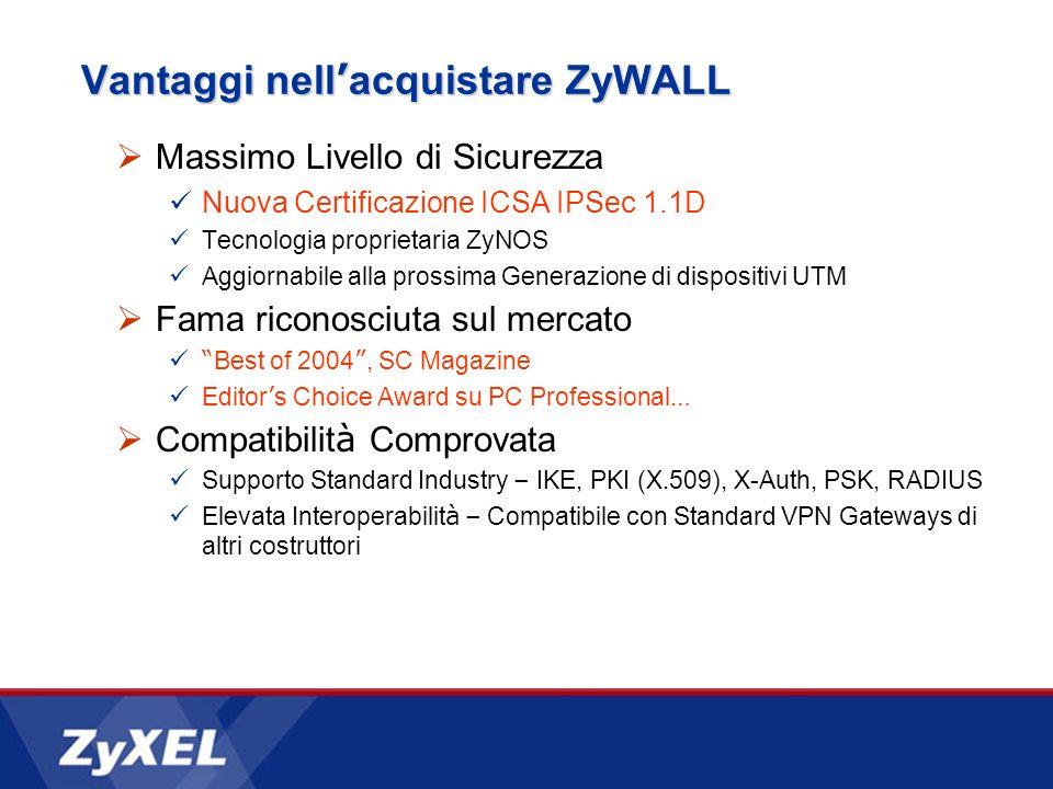 Vantaggi nell acquistare ZyWALL Massimo Livello di Sicurezza Nuova Certificazione ICSA IPSec 1.1D Tecnologia proprietaria ZyNOS Aggiornabile alla pros