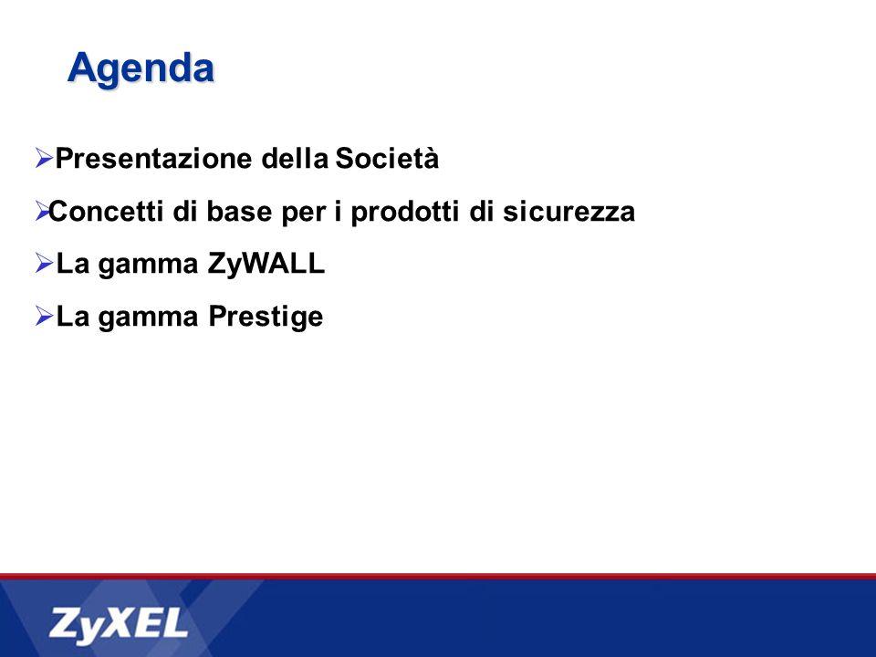 Agenda Presentazione della Società Concetti di base per i prodotti di sicurezza La gamma ZyWALL La gamma Prestige
