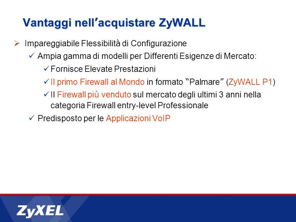Vantaggi nell acquistare ZyWALL Impareggiabile Flessibilit à di Configurazione Ampia gamma di modelli per Differenti Esigenze di Mercato: Fornisce Ele