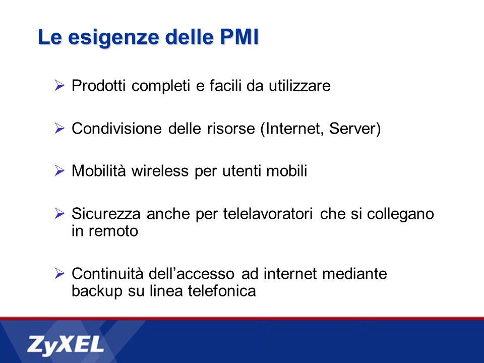 Le esigenze delle PMI Prodotti completi e facili da utilizzare Condivisione delle risorse (Internet, Server) Mobilità wireless per utenti mobili Sicur