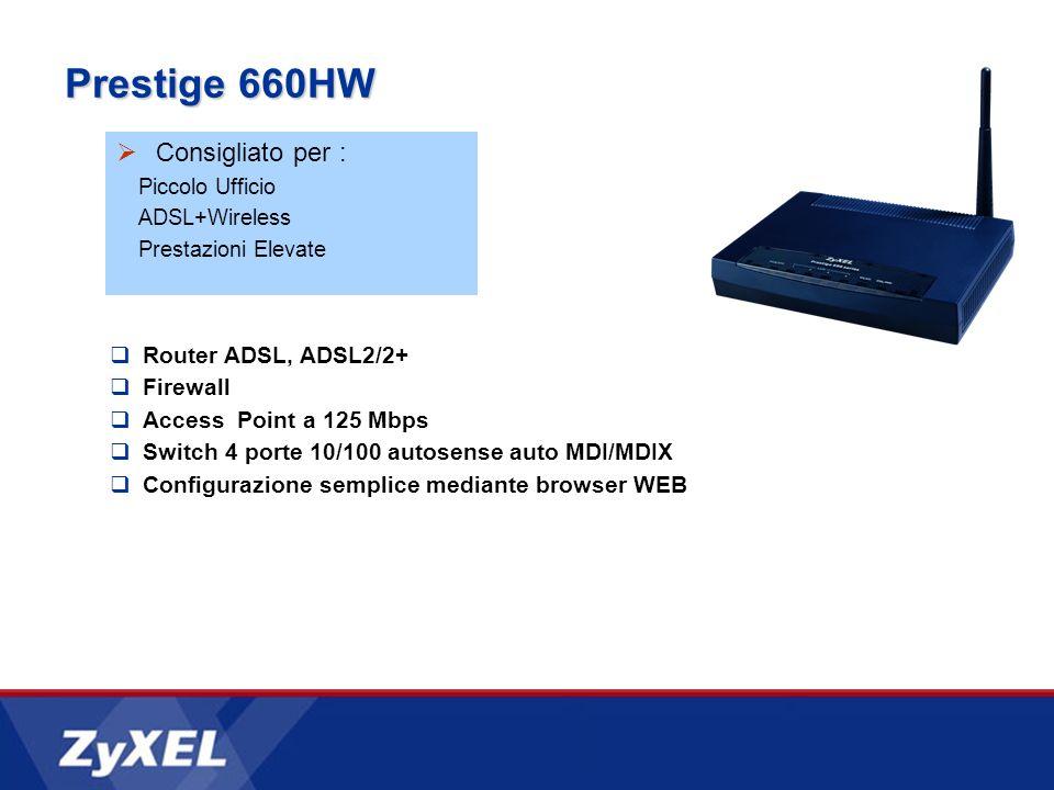 Prestige 660HW Consigliato per : Piccolo Ufficio ADSL+Wireless Prestazioni Elevate Router ADSL, ADSL2/2+ Firewall Access Point a 125 Mbps Switch 4 por