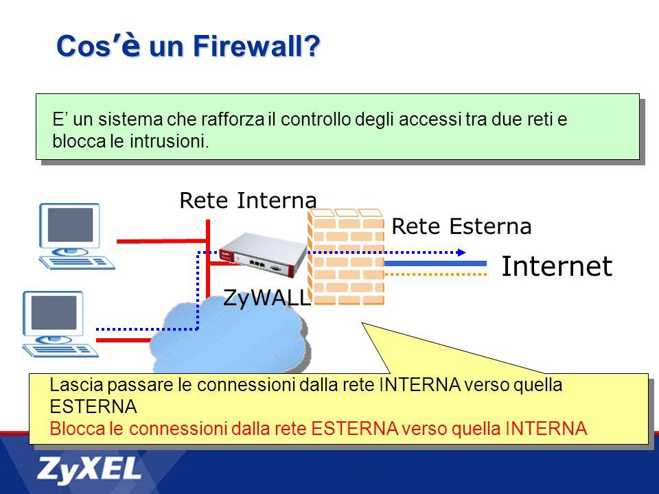 E un sistema che rafforza il controllo degli accessi tra due reti e blocca le intrusioni. Rete Esterna Internet Lascia passare le connessioni dalla re