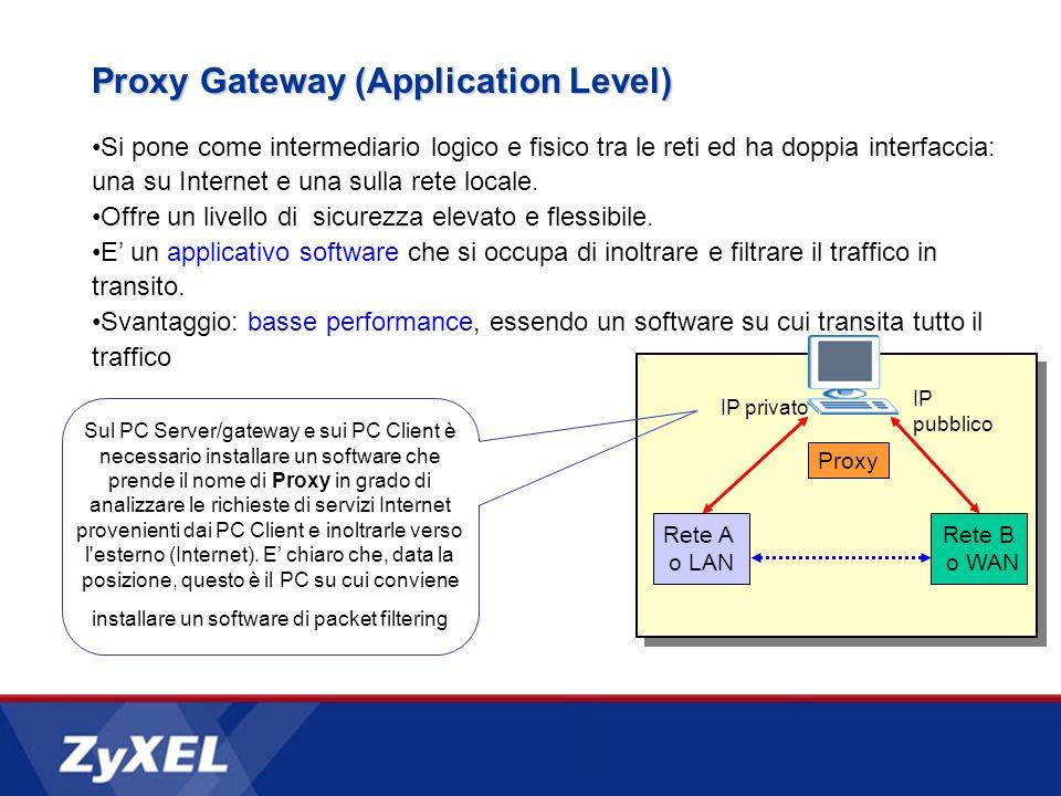 Si pone come intermediario logico e fisico tra le reti ed ha doppia interfaccia: una su Internet e una sulla rete locale. Offre un livello di sicurezz