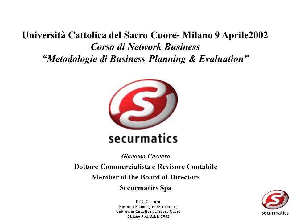 Dr G.Cuccaro Business Planning & Evaluations Università Cattolica del Sacro Cuore Milano 9 APRILE 2002 WACC –Il WACC e il tasso che misura il costo del capitale impiegato nellimpresa, cioe il tasso al quale remunerare azionisti e finanziatori di debito: WACC= Ke * E/S +Kd *D/S dove: Ke=Costo dellequity Kd=Costo del Debito E=Equity D=Debito (posizione finanziaria netta) S=D+E