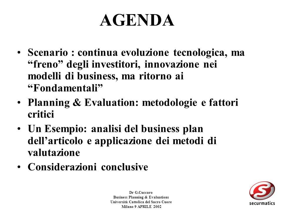 Dr G.Cuccaro Business Planning & Evaluations Università Cattolica del Sacro Cuore Milano 9 APRILE 2002 WACC (2) –Ke (costo dellequity) Ke= Rf + B * (Rm-Rf) Rf= Risk free = tasso su investimenti a rischio zero, titoli di stato ad alto rating B= Beta dellazienda= misura di un rischio teorico di un titolo azionario paragonato allintero mercato (ad es Mibtel), il Beta e calcolato analizzando statisticamente i ritorni azionari del titolo in questione, comparandoli con lindice di riferimento.