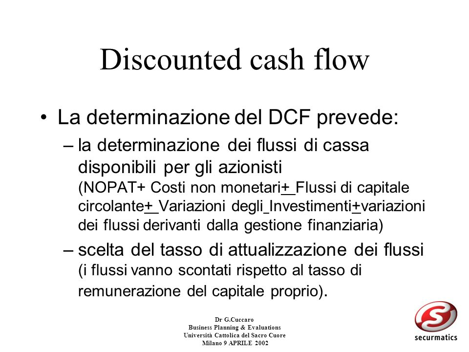 Dr G.Cuccaro Business Planning & Evaluations Università Cattolica del Sacro Cuore Milano 9 APRILE 2002 UNLEVERED DISCOUNTED CASH FLOW La metodologia U