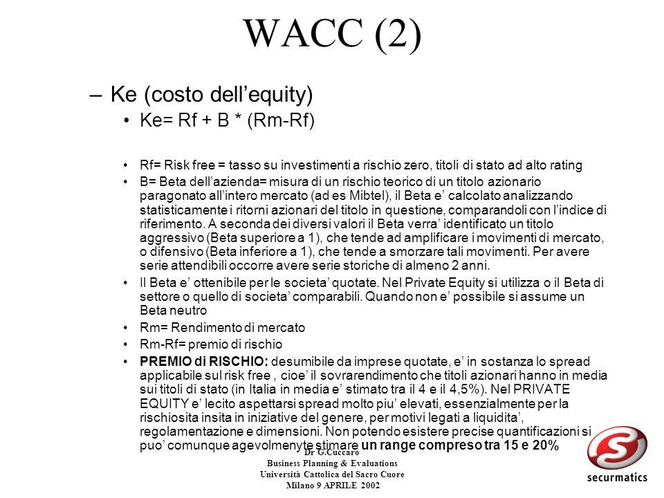 Dr G.Cuccaro Business Planning & Evaluations Università Cattolica del Sacro Cuore Milano 9 APRILE 2002 WACC –Il WACC e il tasso che misura il costo de