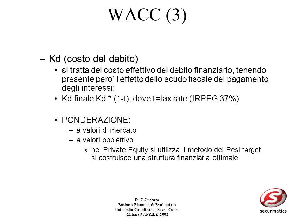 Dr G.Cuccaro Business Planning & Evaluations Università Cattolica del Sacro Cuore Milano 9 APRILE 2002 WACC (2) –Ke (costo dellequity) Ke= Rf + B * (R